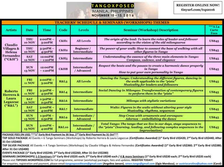 TANGOXPOSED 2016 TEACHERS' SCHEDULE & SEMINARS (WORKSHOPS) THEMES