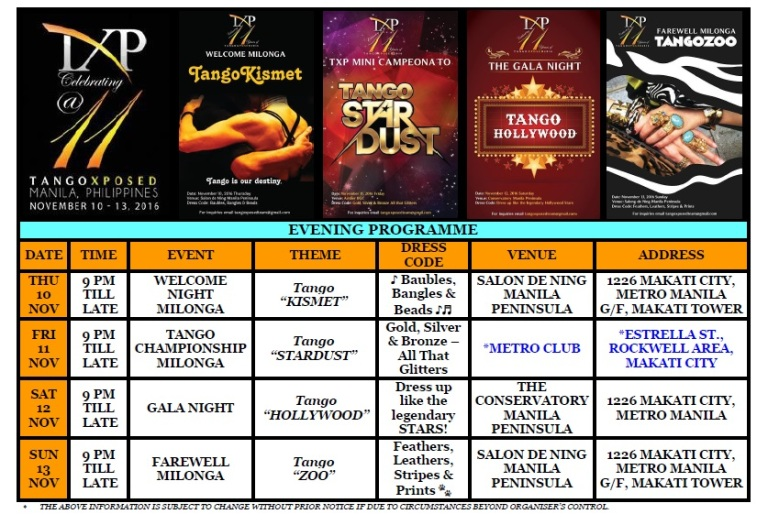 TANGOXPOSED MANILA 2016 EVENING PROGRAMME