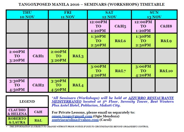 TANGOXPOSED MANILA 2016 SEMINARS (WORKSHOPS) TIMETABLE