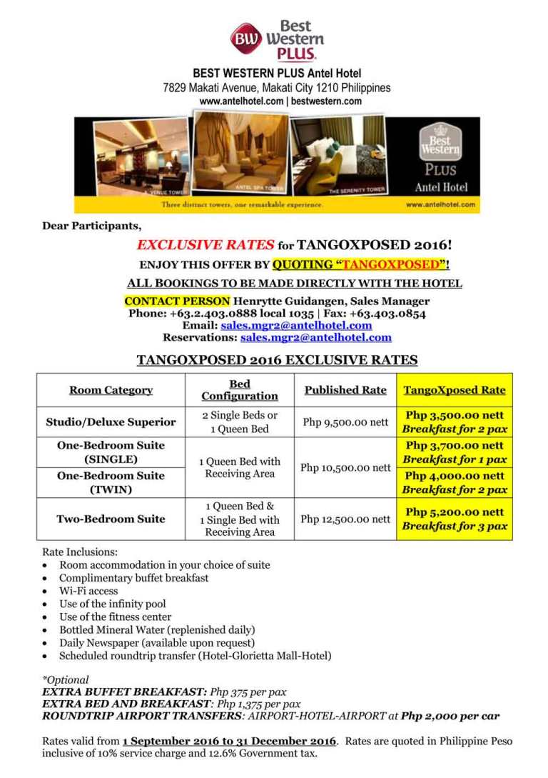EXCLUSIVE HOTEL ACCOMMODATION RATES FOR TANGOXPOSED 2016!